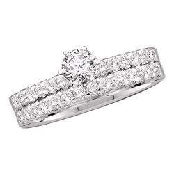 7/8 CTW Round Diamond Solitaire Bridal Wedding Engagement Ring 14kt White Gold - REF-129M3A