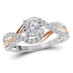 1/2 CTW Round Diamond Solitaire Bridal Wedding Engagement Ring 14kt Two-tone Gold - REF-65K9R