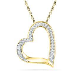 1/8 CTW Round Diamond Heart Outline Pendant 10kt Yellow Gold - REF-8R4H