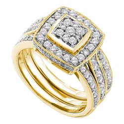 1 CTW Round Diamond Cluster 3-Piece Wedding Bridal Engagement Ring 14kt Yellow Gold - REF-101Y9X