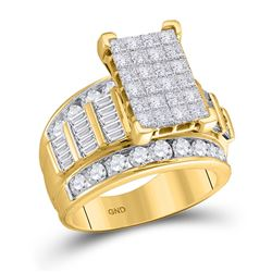 3 CTW Princess Diamond Cluster Bridal Wedding Engagement Ring 14kt Yellow Gold - REF-242T4K
