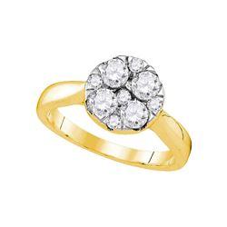 1 CTW Round Diamond Cluster Bridal Wedding Engagement Ring 14kt Yellow Gold - REF-107R9H
