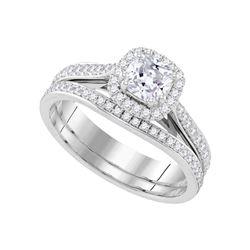 1 CTW Cushion Diamond Bridal Wedding Engagement Ring 14kt White Gold - REF-239F9M