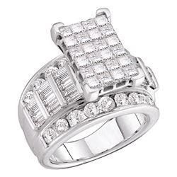 5 CTW Princess Diamond Cluster Bridal Wedding Engagement Ring 14kt White Gold - REF-438F3M