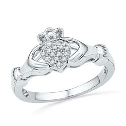 1/20 CTW Round Diamond Claddagh Hands & Heart Cluster Ring 10kt White Gold - REF-16W8F