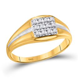 1/8 CTW Mens Round Diamond Square Cluster Ring 10kt Yellow Gold - REF-11A9N