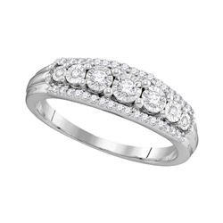 1/4 CTW Round Diamond Triple Row Ring 10kt White Gold - REF-22W8F