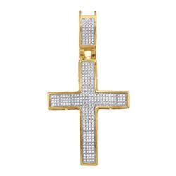 1/2 CTW Mens Round Diamond Cross Charm Pendant 10kt Yellow Gold - REF-38N4Y