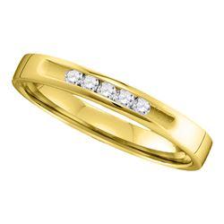 1/8 CTW Round Diamond Wedding Single Row Ring 14kt Yellow Gold - REF-21M5A