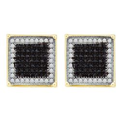 1 CTW Mens Round Black Color Enhanced Diamond Square Earrings 10kt Yellow Gold - REF-30Y3X