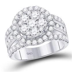 2 CTW Round Diamond Cluster Bridal Wedding Engagement Ring 14kt White Gold - REF-137F9M