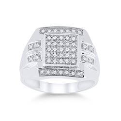 1/3 CTW Mens Round Diamond Square Cluster Ring 10kt White Gold - REF-30R3H