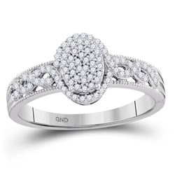 1/4 CTW Round Diamond Oval Cluster Milgrain Twist Bridal Ring 10kt White Gold - REF-20N3Y