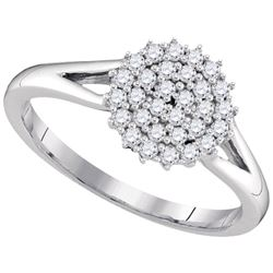 1/3 CTW Round Diamond Concentric Circle Cluster Ring 10kt White Gold - REF-27W5F