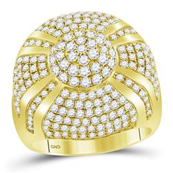 3 & 5/8 CTW Mens Round Diamond Large Cluster Ring 14kt Yellow Gold - REF-264T3K