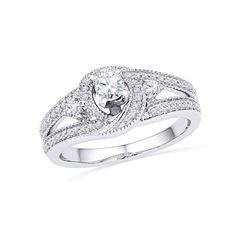 1/2 CTW Round Diamond Bridal Wedding Engagement Anniversary Ring 10kt White Gold - REF-41A9N