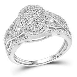 1/2 CTW Round Diamond Oval Cluster Twist Ring 10kt White Gold - REF-39Y3X