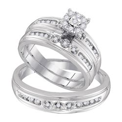 1/3 CTW His & Hers Round Diamond Solitaire Matching Bridal Wedding Ring 10kt White Gold - REF-35A9N
