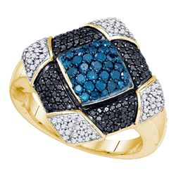 1 CTW Round Blue Black Color Enhanced Diamond Square Cluster Ring 10kt Yellow Gold - REF-60Y3X