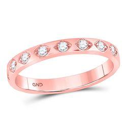 1/5 CTW Round Diamond Flush Diamond Shape Stackable Ring 10kt Rose Gold - REF-20A3N