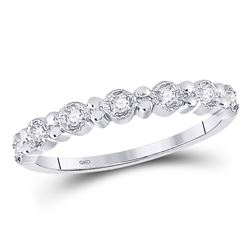 1/10 CTW Round Diamond Stackable Ring 10kt White Gold - REF-10Y8X