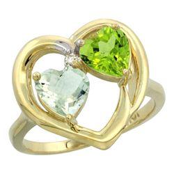 2.61 CTW Diamond, Amethyst & Peridot Ring 10K Yellow Gold - REF-23W7F