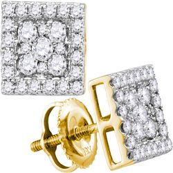 1/2 CTW Round Diamond Square Cluster Stud Earrings 10kt Yellow Gold - REF-33H3W