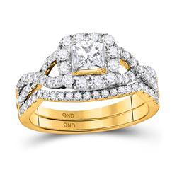 1 CTW Princess Diamond Twist Bridal Wedding Engagement Ring 14kt Yellow Gold - REF-105F5M