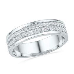 1/5 CTW Round Diamond 2-row Ring 10kt White Gold - REF-26R3H
