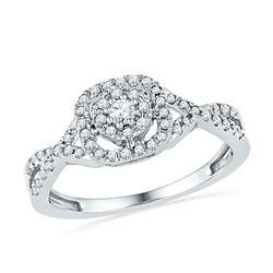1/3 CTW Round Diamond Solitaire Twist Bridal Wedding Engagement Ring 10kt White Gold - REF-21W5F