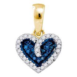1/10 CTW Blue Color Enhanced Round Diamond Heart Anniversary Pendant 10kt Yellow Gold - REF-8A4N