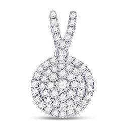 3/8 CTW Round Diamond Circle Frame Cluster Pendant 10kt White Gold - REF-24W3F