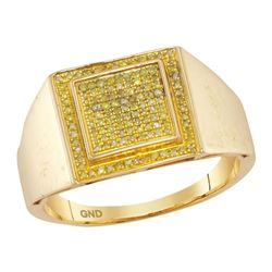 1/4 CTW Mens Round Yellow Color Enhanced Diamond Square Cluster Ring 10kt Yellow Gold - REF-27R5H