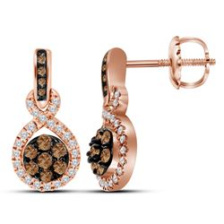 1/2 CTW Round Brown Diamond Cluster Dangle Earrings 10kt Rose Gold - REF-41Y9X