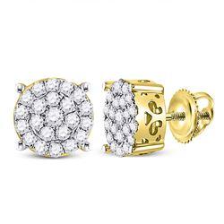 3/4 CTW Round Diamond Cluster Earrings 10kt Yellow Gold - REF-40K8R