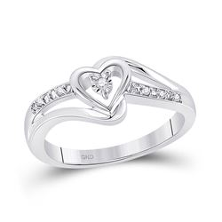 0.03 CTW Round Diamond Heart Promise Bridal Ring 10kt White Gold - REF-14N4Y