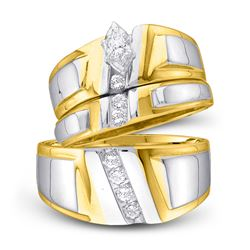 1/4 CTW His & Hers Marquise Diamond Solitaire Matching Bridal Wedding Ring 10kt Yellow Gold - REF-45