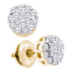 1/2 CTW Round Diamond Flower Cluster Screwback Earrings 14kt Yellow Gold - REF-33N6Y
