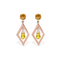 Genuine 2.4 ctw Citrine Earrings 14KT Rose Gold - REF-39X3M