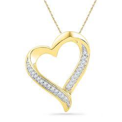 1/10 CTW Round Diamond Heart Pendant 10kt Yellow Gold - REF-10X8T