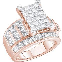 2 CTW Princess Diamond Cluster Bridal Wedding Engagement Ring 14kt Rose Gold - REF-120H3W