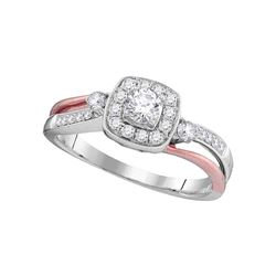 1/2 CTW Round Diamond 2-tone Bridal Wedding Engagement Anniversary Ring 10kt White Gold - REF-45N6Y