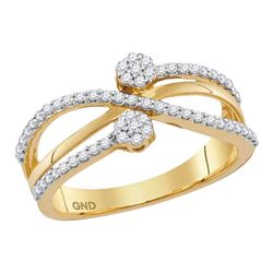 1/3 CTW Round Diamond Flower Cluster Crossover Ring 10kt Yellow Gold - REF-30N3Y