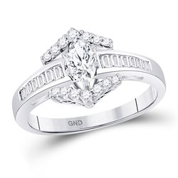 3/4 CTW Marquise Diamond Solitaire Bridal Wedding Engagement Ring 14kt White Gold - REF-99K5R