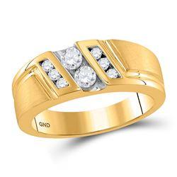 1/2 CTW Mens Round Diamond Diagonal 2-stone Ring 10kt Yellow Gold - REF-60W3F