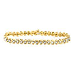 1/2 CTW Round Diamond S-Link Tennis Bracelet 10kt Yellow Gold - REF-77N9Y