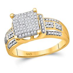 3/8 CTW Round Diamond Square Cluster Bridal Wedding Engagement Ring 10kt Yellow Gold - REF-30T3K