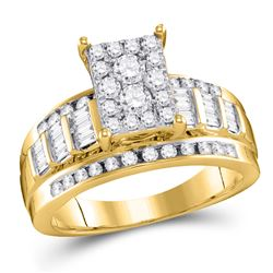 1/2 CTW Round Diamond Cluster Bridal Wedding Engagement Ring 10kt Yellow Gold - REF-35R9H
