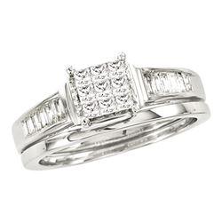 1/2 CTW Princess Diamond Bridal Wedding Engagement Ring 14kt White Gold - REF-63K5R