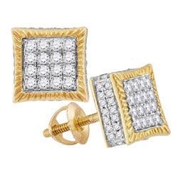 3/4 CTW Mens Round Diamond Square Fluted Cluster Stud Earrings 10kt Yellow Gold - REF-41M9A
